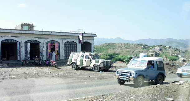 an-armored-vehicle-reinforces-a-checkpoint-in-the-countryside-of-yemen