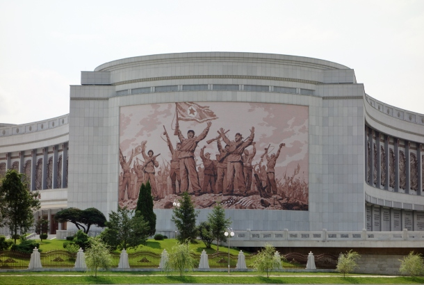 Propaganda celebrating militarization is a very common theme in North Korea