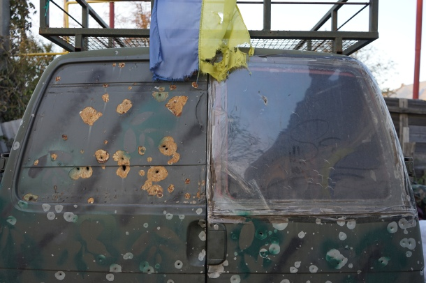 vehicle-peppered-by-shrapnel-belonging-to-volunteers-ukraine
